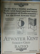"""Atwater Kent Radio Ad: """"Master Craftsmen"""" from 1929 Size: 15 x 22 inches"""