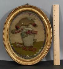 Antique Early 19thC American Folk Art Woolwork Felt Embroidery Bird Berry Basket