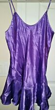 Baby Doll Nightgown Vtg CALIFORNIA DYNASTY Size Small Purple Satin USA Made MINT