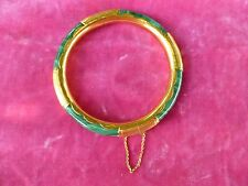 STRIKING CHINESE 14K GOLD  AND MALACHITE BANGLE BRACELET