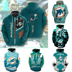 Miami Dolphins Hoodie Football Sweatshirt Hooded Pullover Men Casual Jacket Coat