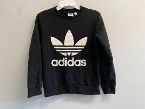 GUC Adidas Originals Unisex Kids Size S Trefoil Sweatshirt Black White Logo