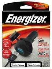 Energizer USB Car Charger and Cable 10 Watt 2.1 Amp, iPhone, iPad, iPod, 30 Pin