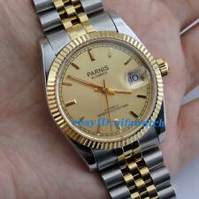 36mm PARNIS golden dial 21 jewels miyota luminous automatic mens watch 2045