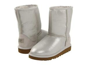 UGG AUSTRALIA BOOTS CLASSIC SHORT BLING SILVER SPARKLE CLOUD 6Y WOMEN SIZE 8 NEW