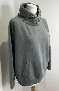 DKNY Sport grey marl spell out sweatshirt jumper L 12 14 VGC oversize cosy neck