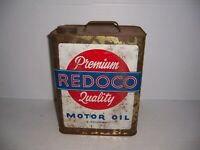 Vintage Redoco Premium Quality Motor Oil 2 Gallon Can Gas Station Advertising
