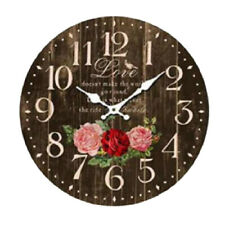 Clock Country Vintage Wall Clocks 34CM BLACK LOVE ROSES New Time