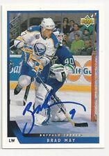 93/94 Upper Deck Autographed Hockey Card Brad May Buffalo Sabres