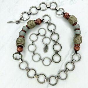 Liz Claiborne Silver Tone Beaded Toggle Close Belly Body Chain Link Belt OS