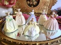 Job Lot Coalport Minuettes Figurines Small Bone China Ladies Set Of 6