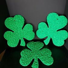 "Lot of 3 Vintage Melted Plastic Popcorn St Patrick's Day Shamrocks 16""x14"""