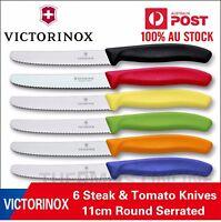 Genuine 6 X Victorinox Swiss 11CM Serrated Steak,Tomato,Sausage Knife Colourful