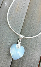 Kette kreiert mit Swarovski® Kristall Herz White Opal Weiss silbern