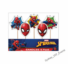 SMALL SPIDERMAN CANDLES BIRTHDAY PARTY SUPER HERO BOYS CAKE TOPPER BLUE RED 5PK