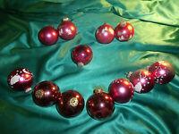 ~ 12 alte Christbaumkugeln Glas rosa Wolken Sterne silber weiß Weihnachtskugeln