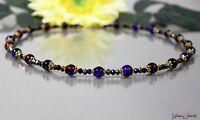 Glass Jewels Elegante Gold Halskette Collier Perlen Blau Rot #B045