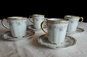 Limoges Theodore Haviland 1903, Set of 4 Antique Demitasse Cups and Saucers EUC