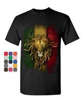 Rasta Lion T-Shirt Jah Jamaica Reggae Marijuana 420 Weed Zion Mens Tee Shirt