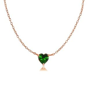 Dainty Simulated Emerald Small Heart Choker Necklace in Rose Gold Plated Silver