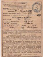 Quittungskarte germany Wurttemberg 1896