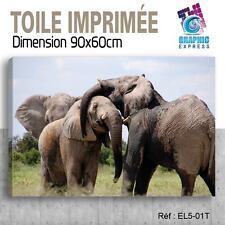 90x60cm - TOILE IMPRIMEE- TABLEAU  POSTER DECO -ELEPHANT FELIN - EL5-01T