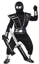Boys Mirror Ninja Silver Black Samurai Fancy Dress Costume Outfit Karate Toy 4-6 Years