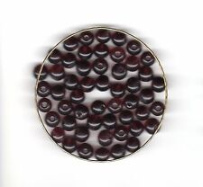Vintage deep amethyst/grape round glass beads--7 mm.