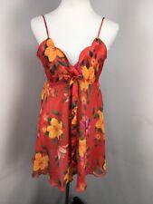 VTG VICTORIAS SECRET Floral Satin Chiffon Chemise Babydoll Nightgown  Lingerie M 43eab5bde