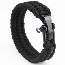 Stainless Steel Anchor Shackle Black Leather Bracelet Surf Nautical Sailor Women