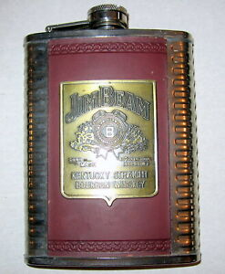 Vintage Jim Beam Kentucky Straight Bourbon Whiskey Hip Flask 8 Oz