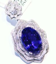27.40CT 18K Gold Natural Tanzanite White Diamond Vintage AAA Engagement Necklace
