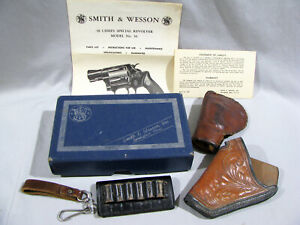 Vintage SMITH & WESSON MODEL 36 CHIEFS SPECIAL BOX, PAPERWORK & HOLSTERS