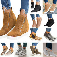 Women High-Top Wedge Heel Sneaker Platform Trainers Round Toe Casual Ankle Boots