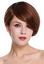 Cheveux Véritables Perruque pour Femme Court Raie Lisse Noir Cuivre Rouge Méché