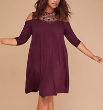 LANE BRYANT PURPLE PLUMCROCHET 3/4 SLEEVE COLD SHOULDER SWING DRESS PLUS 18/20