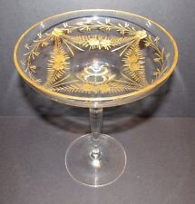 Antique Gold Etched Crystal COMPOTE Comport Bohemia Glass Tazza 8.5x6.5""