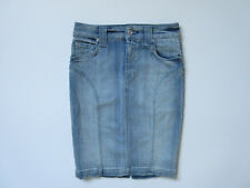 7 For All Mankind High Waisted Slim Illusion Faded Blue Denim Pencil SKirt 24