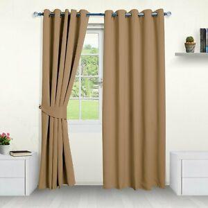 "Hometreats UK Thermal Blackout Eyelet Curtains - Beige (66"" x 90"") - Repackaged"