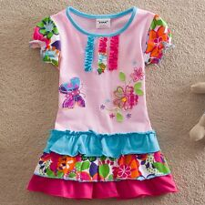 Girls butterfly flowers white / pink 100% cotton top dress (18Months-5Years)