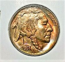 1938 D BUFFALO NICKEL BU WITH NICE COLOR ON OBVERSE & REVERSE