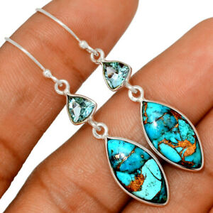 Copper Blue Turquoise & Blue Topaz 925 Sterling Silver Earring Jewelry BE45636