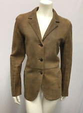 JIL SANDER DISTRESSED LEATHER JACKER CIGAR BROWN EXCELLENT CONDITION 38 SMALL S
