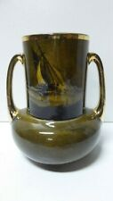 ANTIQUE RIDGWAYS POTTERY ROYAL VISTAS FAMOUS ARTIST PAINTINGS GILT VASE - SHIPS