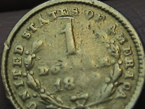 1849 O $1 Gold Indian Princess One Dollar Coin- Open Wreath
