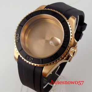 Rose Gold Coated Watch Case fit NH35A NH36A Curved Rubber Strap Brushed Insert