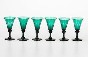 Set of 6 Antique Green Late Georgian Panel Cut Blown Trumpet Wine Glasses