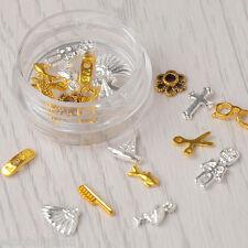 11Pcs/Box Gold&Silver Comb Scissors 3D Nail Art Decoration Studs Crafts