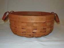 "1989 Longaberger 9.5"" Round Basket With Two Leather Handles Usa"