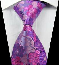 New Classic Florals Pink Purple JACQUARD WOVEN 100% Silk Men's Tie Necktie